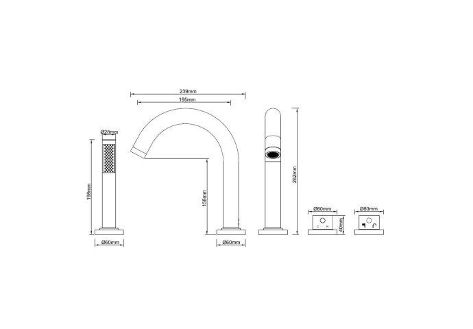 BWS Badrandkraan Cemal 4-gats Thermostatisch Afbouwset Mat Zwart