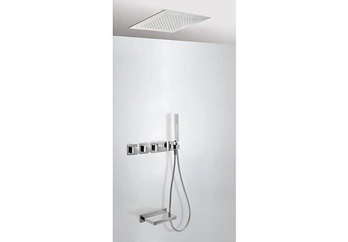 Tres Cuadro inbouw badthermostaat combinatie met handdouche en waterval baduitloop chroom 20725306
