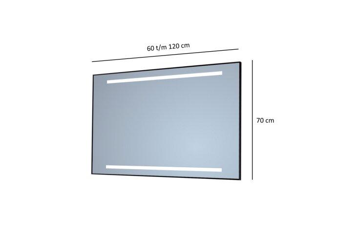 Badkamerspiegel Sanicare Q-Mirrors Twee Horizontale Banen 'Warm White' LED-Verlichting (alle kleuren, alle maten)
