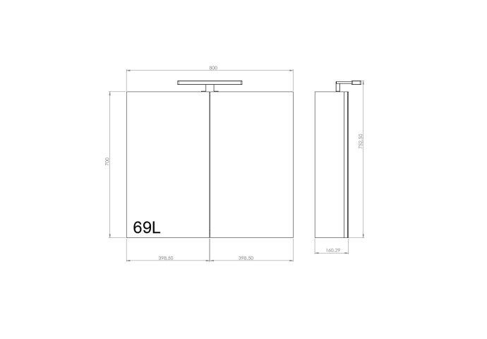 Spiegelkast Allibert Juno LED Verlichting 80x75.2x16cm Softclose Deuren Donkergrijs Eik