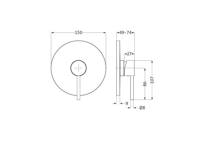 Inbouw Douchekraan Herzbach Design New met Metalen Rozet Ø15 cm Chroom