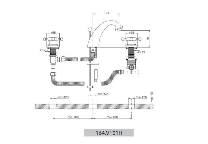 Wastafelmengkraan Huber Victorian 3 gats 164VT01HNS RVS