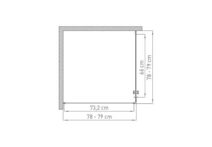 Douchecabine VM Isifix Inga 80x80cm Draaibaar Met Vaste Wand Wit
