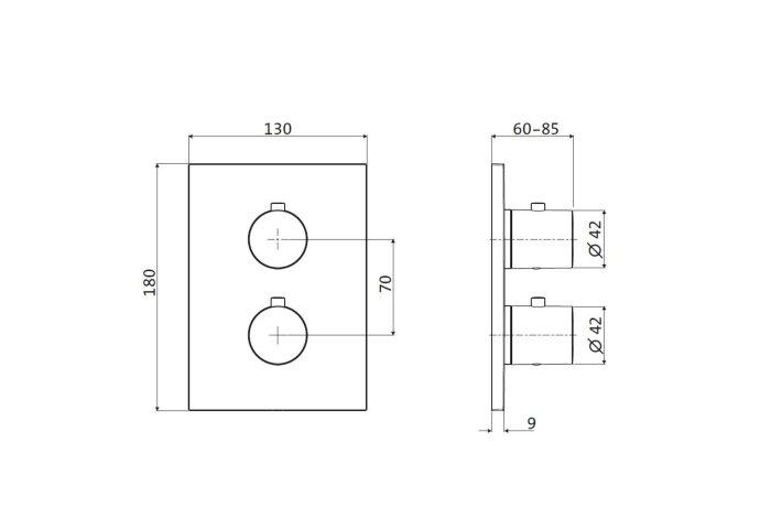 Inbouw Douchekraan 2-Weg Herzbach Design IX Thermostatisch PVD-Coating Koper