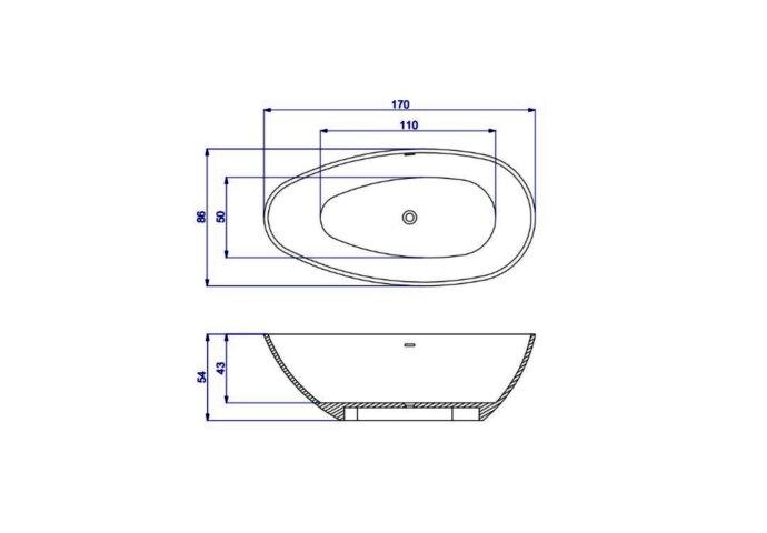 Vrijstaand Ligbad Salenzi Unica 170x86x54 cm Solid Cast Mat Zwart