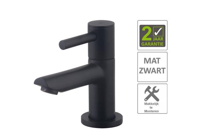 "BWS Fonteinkraan Drome Keramisch 1/2"" Mat Zwart"