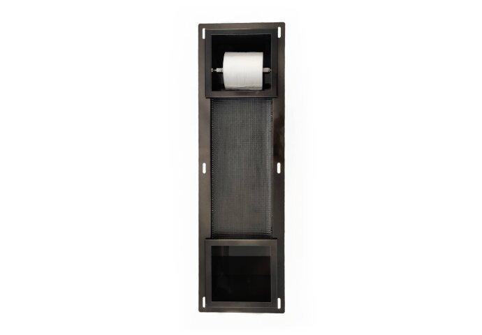 Inbouw Toiletrolhouder BWS met Reserve Rolhouder RVS Black Chrome