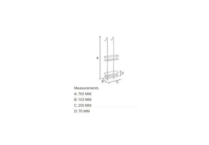 Douchekorf Smedbo Sideline Dubbel Hangmodel 25x10,3 cm Chroom