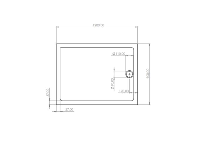 Douchebak BWS Rechthoek Zelfdragend Acryl 120x90x4cm Wit