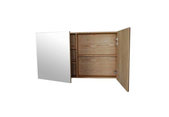 Spiegelkast Sanilux Wood 120x70x16cm Massief eiken Softclose 3 Legplanken