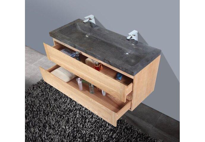 Badkamermeubelset Sanilux Wood Stone 120x47x50 cm Massief Eikenhout
