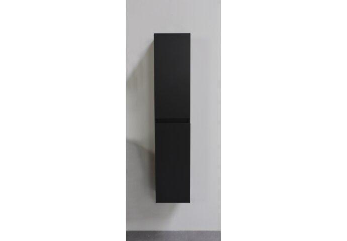 Badmeubelkast Boss & Wessing Pepper Hoge Kast Greeploos 2 Deuren 145x30x30 cm Mat Zwart