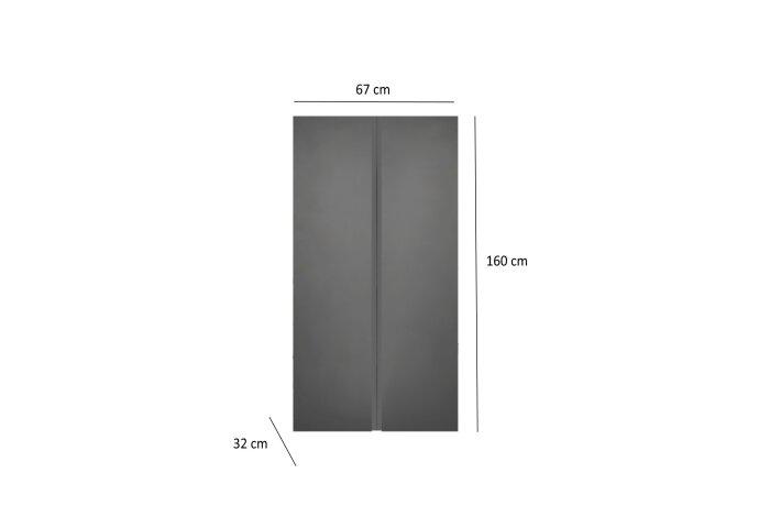 Kolomkast Sanicare Q7 2-Deurs Soft-Closing Greeploos 160x67x32 cm Antraciet