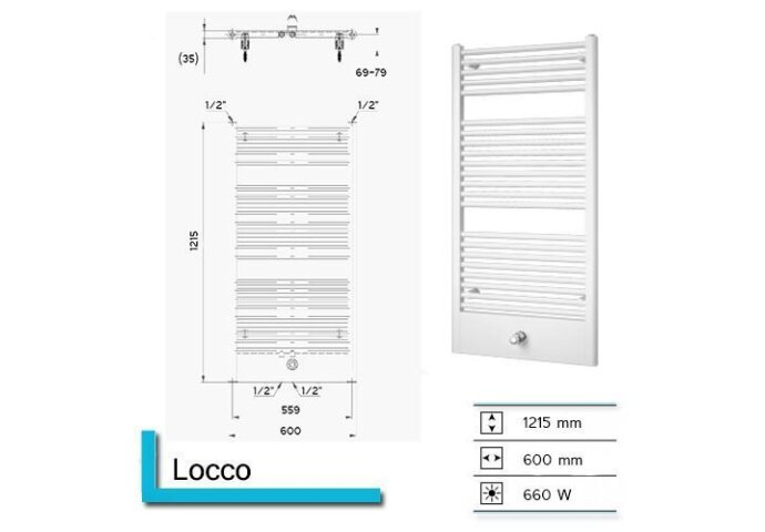 Designradiator Boss & Wessing Locco 1215 x 600 mm (13 kleuren)