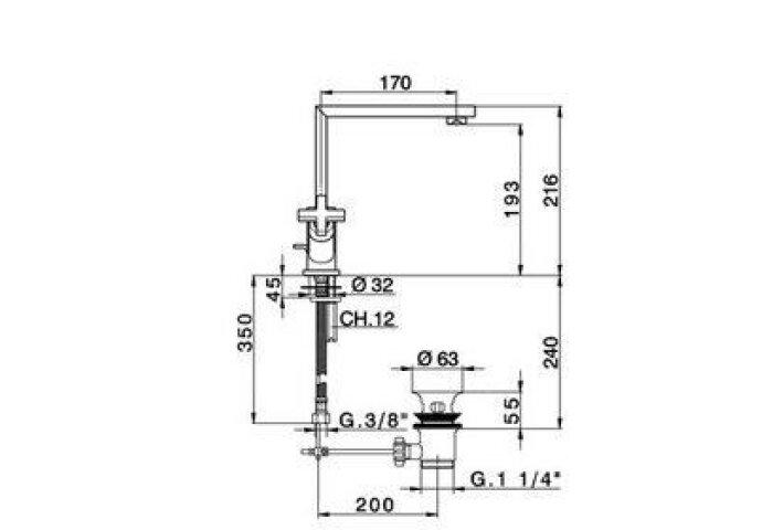 Wastafelmengkraan Cisal Barcelona Quad BQ00052021 Chroom