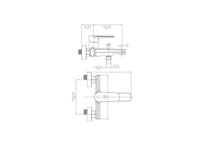 Badmengkraan VM Care Ergonomisch Coldstart en Handdouche Chroom (Incl Rozetten en S-koppeling)