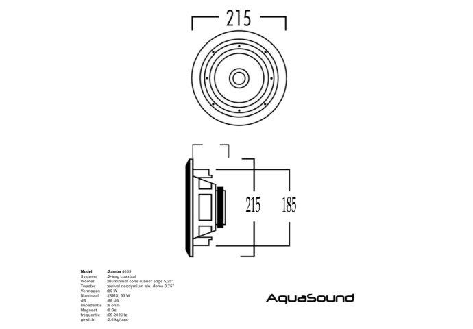 Speakerset Aquasound Samba (draaibare Tweeter) Mat Chroom Rond 215mm