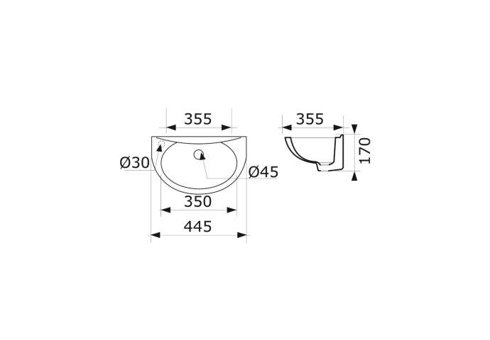 Fontein VM Isifix Ecos 44x35x17cm Porselein Glans Wit Met Sifon