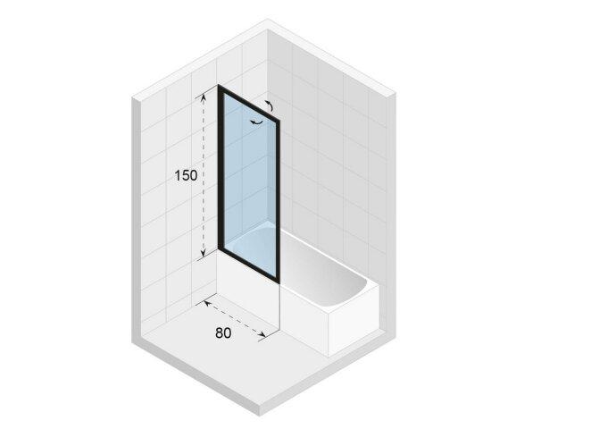 Badwand Riho Lucid GD501 Omkeerbaar Verstelbaar Aluminium 150x80 cm Mat Wit