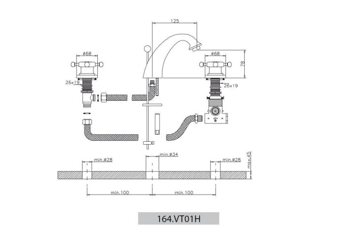 Wastafelmengkraan Huber Victorian 3 gats 164VT01HBA Brons