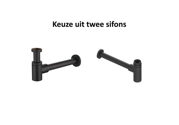 Fonteinset Boss & Wessing Solid Surface met Handdoekhouder Links Mat Zwart (inclusief kraan, afvoer en sifon)