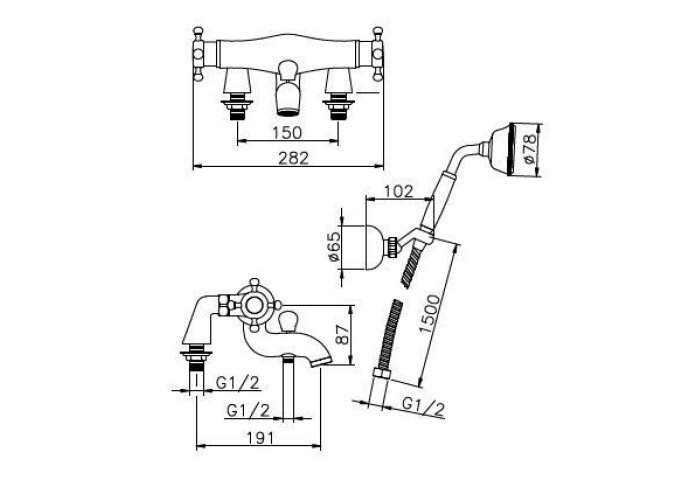 Huber Victorian Thermostatische Badkraan met Douchegarnituur voor badrandmontage RVS 196.VT01H.NS