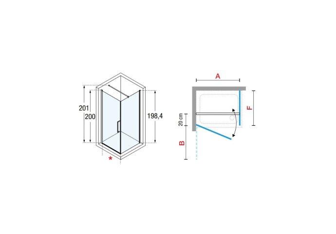 Douchecabine Novellini Young G+F met Draaideur Helder Glas 75x200 cm Mat Zwart Profiel