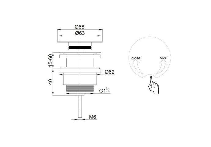 Luxe draaiwaste 5/4 laag model chroom (afvoerpluggen)
