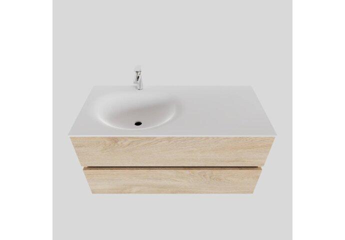Badkamermeubel Solid Surface BWS Stockholm 100x46 cm Links Wood Washed Oak (1 kraangat)