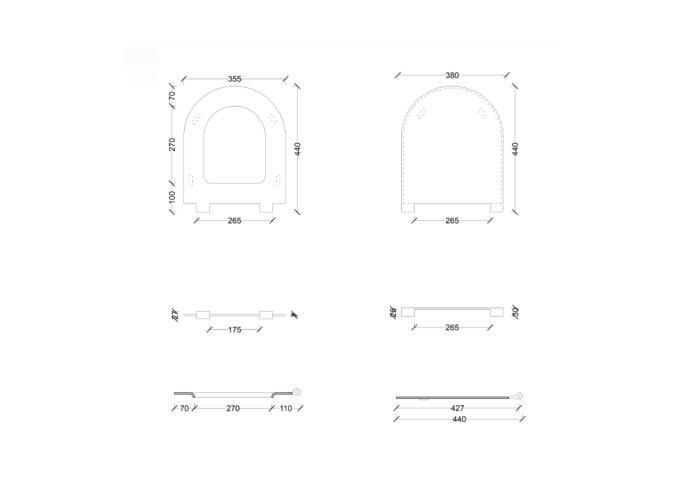 Toiletzitting Salenzi Form Slim Mat Zwart