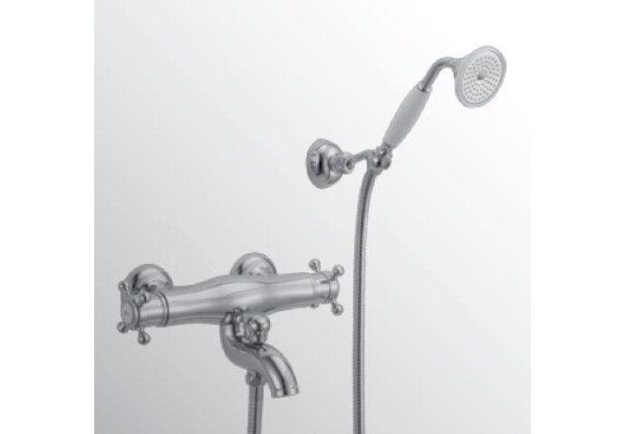 Huber Victorian Thermostatische Badkraan met douchegarnituur Chroom/Goud 193.VT01H.CA