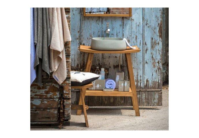 Badkamermeubelset Cipi Zen Consolle XL 71 cm Hout Naturel (inclusief spiegel en opbouw waskom)