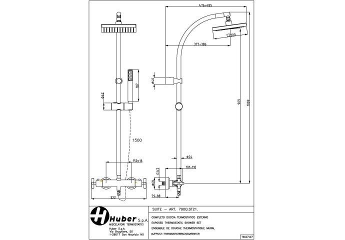 Huber Suite Douchekolom met thermostaatkraan 790QST21HCR