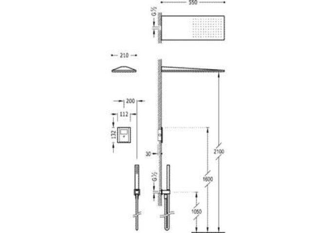 Tres electronische inbouw doucheset met regendouche chroom 09286502