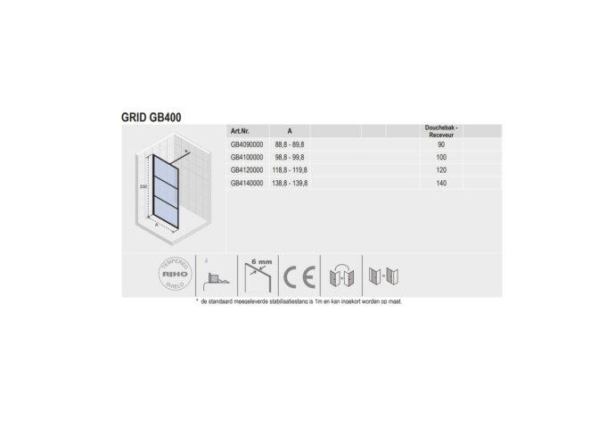 Inloopdouche Riho Grid 100x200 cm 6 mm Helderglas Zwarte Profielen