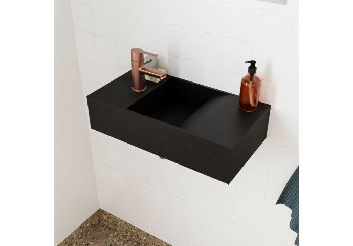 Fontein Salenzi Arro 50x26 cm Mat Zwart Links