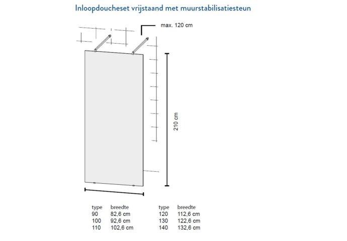 Bruynzeel Inloopdoucheset Lector 130 x 210 cm 8 mm Helder Glas Vrijstaand met Stabilisatiestang Mat Zwart