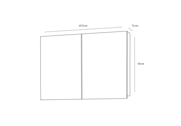 Spiegelkast Differnz Brida 50x67.5x15 cm Wit