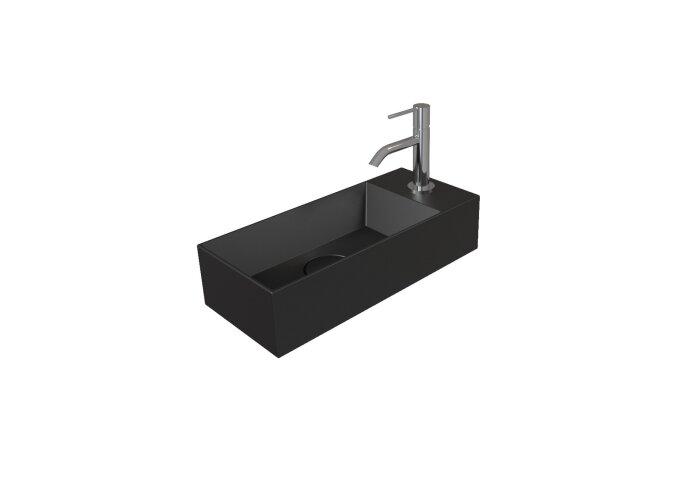 Fontein Salenzi Spy 45x20 cm Mat Zwart (inclusief bijpassende waste)