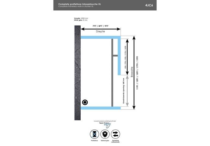 Complete Profielloze Inloopdouche XL 80x160 Geborsteld