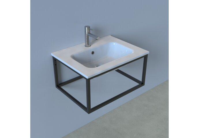 Badkamermeubelset Industrieel BWS Frame Hangend 60 Mat Zwart Aluminium (spiegel optioneel)