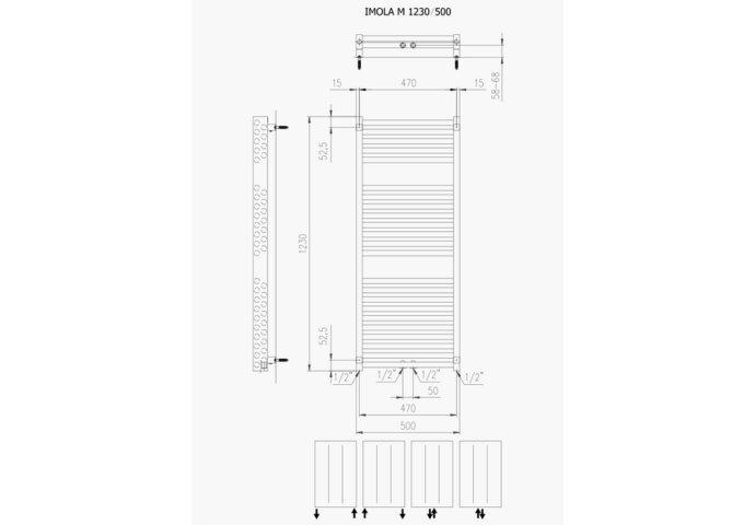 Designradiator Boss & Wessing Ifona 123x50 cm 802 Watt Met Middenaansluiting Pearl Grey
