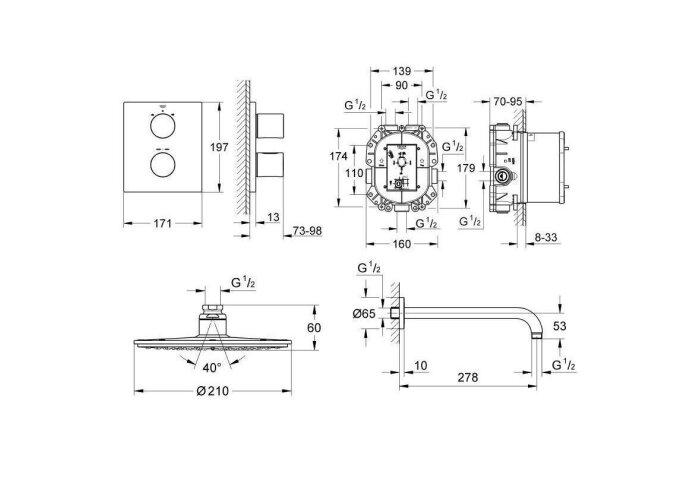 Grohe Grohtherm 3000 Cosmopolit inbouw comfortset met vierkant roset chroom 34408000 (Regendouche inbouw) Showmodel