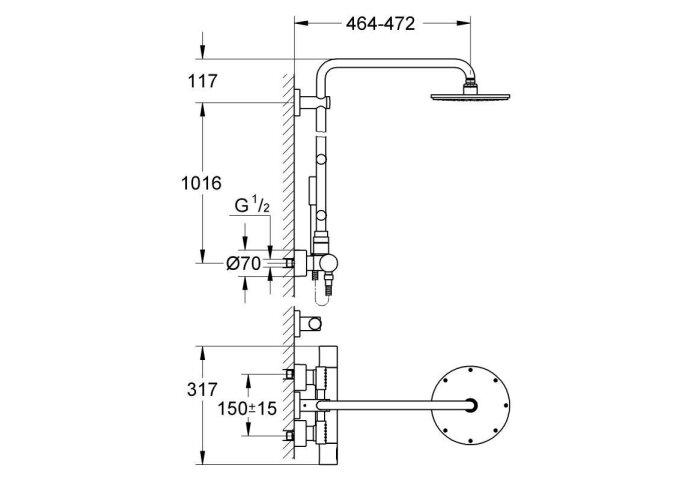 GROHE Rainshower Modern douchesysteem 210 met thermostaatkraan en zijdouches