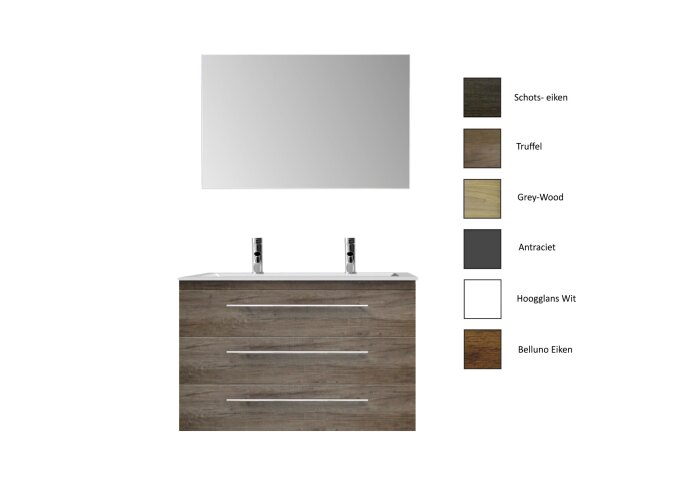 Badkamermeubelset Sanicare Q4 Drie Soft-Close Laden 100x45 cm Grey-Wood (0,1 of 2 Kraangaten)
