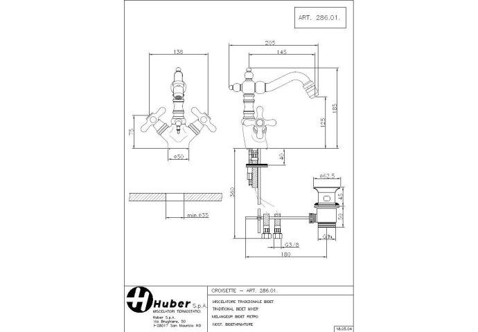 Huber Croisette Bidetmengkraan RVS 28601HNS