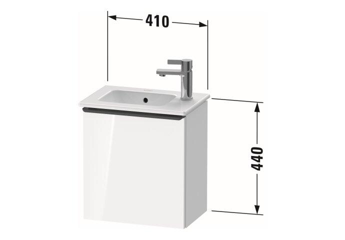 Fonteinkast Duravit D-Neo Wand 410x274x440 mm Links Mat Wit