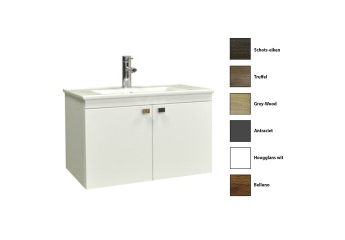 Badkamermeubelset Sanicare Q5 2 Deuren 80 cm (alle kleuren, spiegel optioneel)