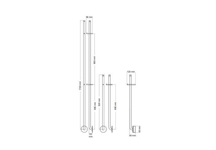 Elektrische Radiator Stick Instamat Jay 172 cm 29W Mat Zwart