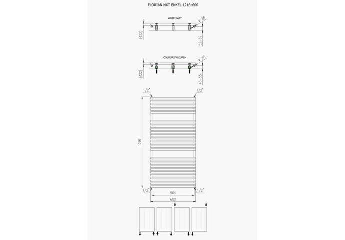 Designradiator Plieger Florian 750 Watt Vier Aansluitpunten 121,6x60 cm Wit